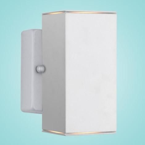 """Outdoor Wall Light w/ Silver Finish & Clear Glass 2 x 50W Dimensions:W:4.29""""; H:7.68""""; D:4.53"""" Type of bulb:GU10 - Included LED Compatible, Dimmer Compati"""