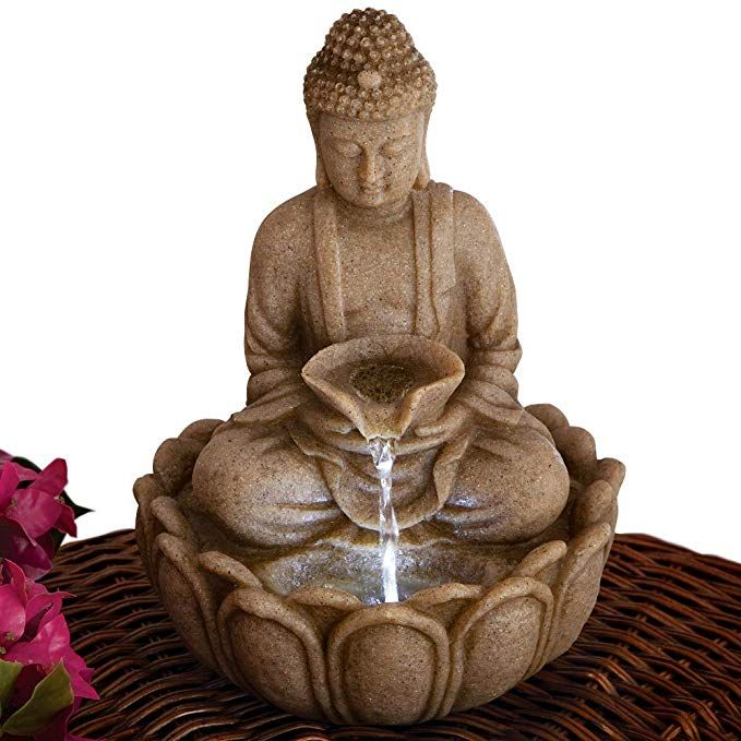 Bits And Pieces Indoor Buddha Fountain Zen Tabletop Water