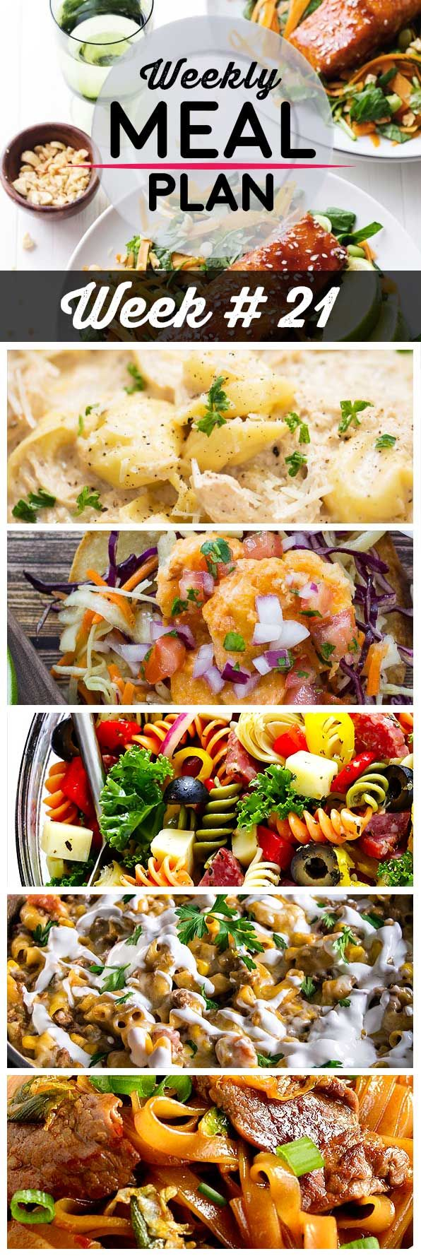 Weekly Meal Plan #21! A meal plan to help you keep things tasty each week, including hoisin glazed salmon, chicken alfredo tortellini, bang bang shrimp tacos, and more!   HomemadeHooplah.com