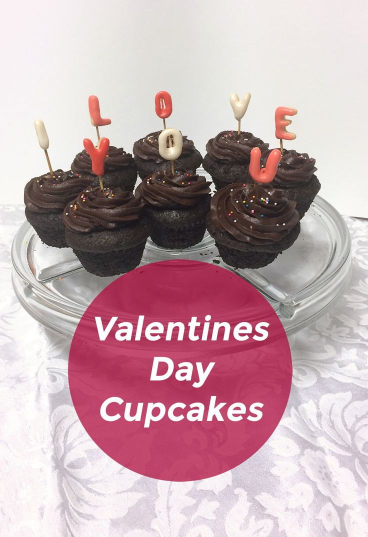 Cupcakes with sugar cookie letters for Valentine's Day