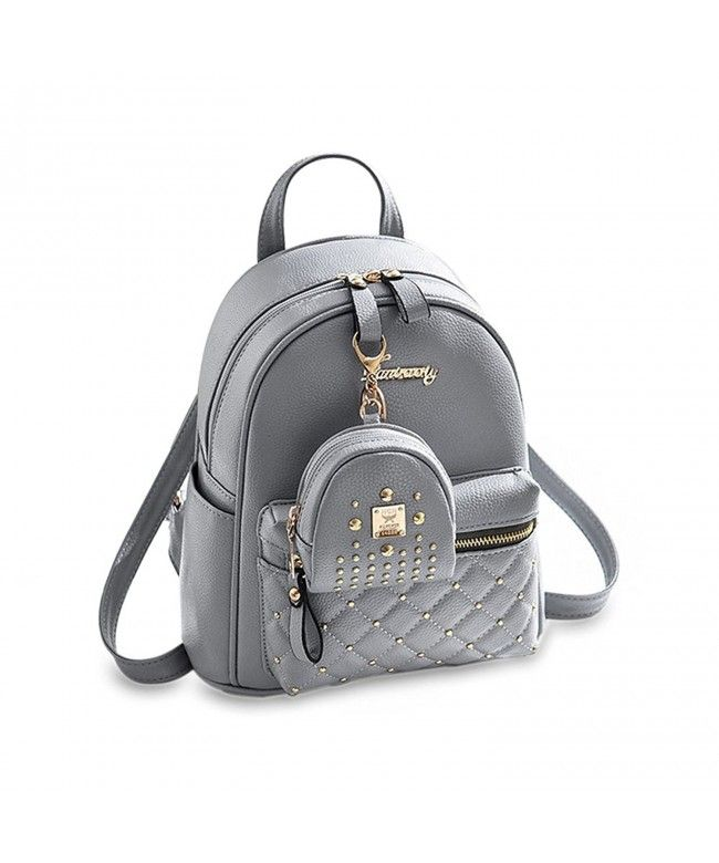 837fea9e0 Cute Small Backpack Mini Purse Casual Daypacks Leather for Teen Girls and  Women - Gray -