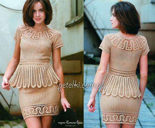 Крючком платье с баской