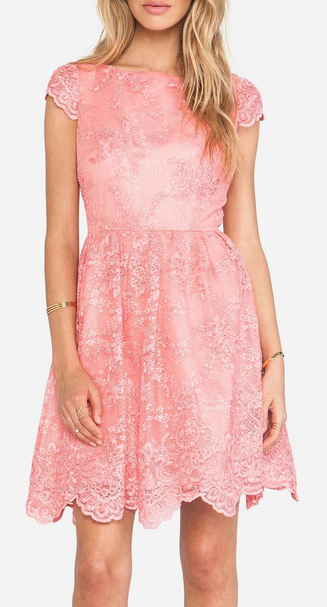 Alice + Olivia Zenden Scallop Edge A-Line Dress in Pink Iciing