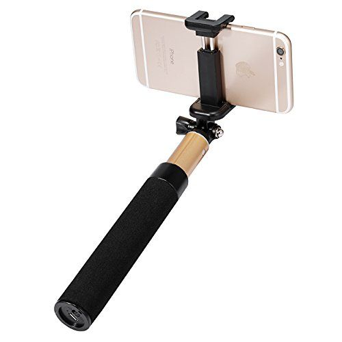 Selfie Stick, Benks Pro 3-in-1 Self-portrait Monopod Wireless Bluetooth Selfie Stick with Built-in Bluetooth Remote Shutter with Adjustable Phone Holder for Iphone 6, 6 Plus, 5 5s 5c 4s, Samsung S6(s6 Edge) and Other Smartphones (General Size(7.87-27.6 Inch)- Golden) Benks
