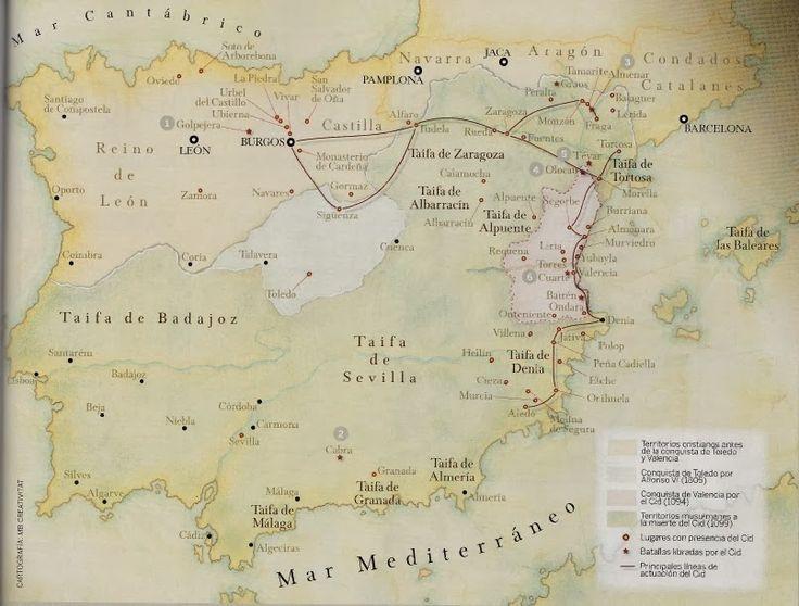 La ruta del Cid tras la salida de Burgos (Cantar del destierro). Este documento resulta especialmente interesante para comprender el mosaico de reinos en la época de la obra y las tensiones políticas del momento. #cid