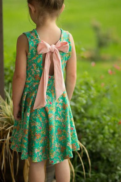 Beautiful, easy and modern child sewing PDF patterns Adelyn's Scoop Back Top & Dress. PDF sewing pattern for toddler & girls sizes 2t-12. - Simple Life Company, retail pattern