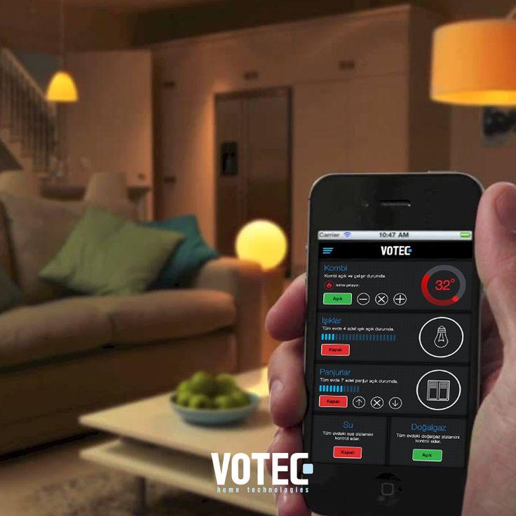 Votec Akıllı Ev Sistemleri ile evinizi cep telefonunuzla ister evinizdeyken ister dışarıdayken rahatlıkla kontrol edebilirsiniz. Böylece aklınız evinizde kalmaz, anın tadını çıkarırsınız.