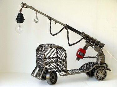 metal sculpture truck Unique artwork made by artist Yiannis Dendrinos Welded metallic parts Anti-rust varnished for indoor use Telescopic tube can turn, pull-in and push-out Ships in 5-10 working days Certificate of authenticity available on demand  €123.00 (VAT 24% is included)