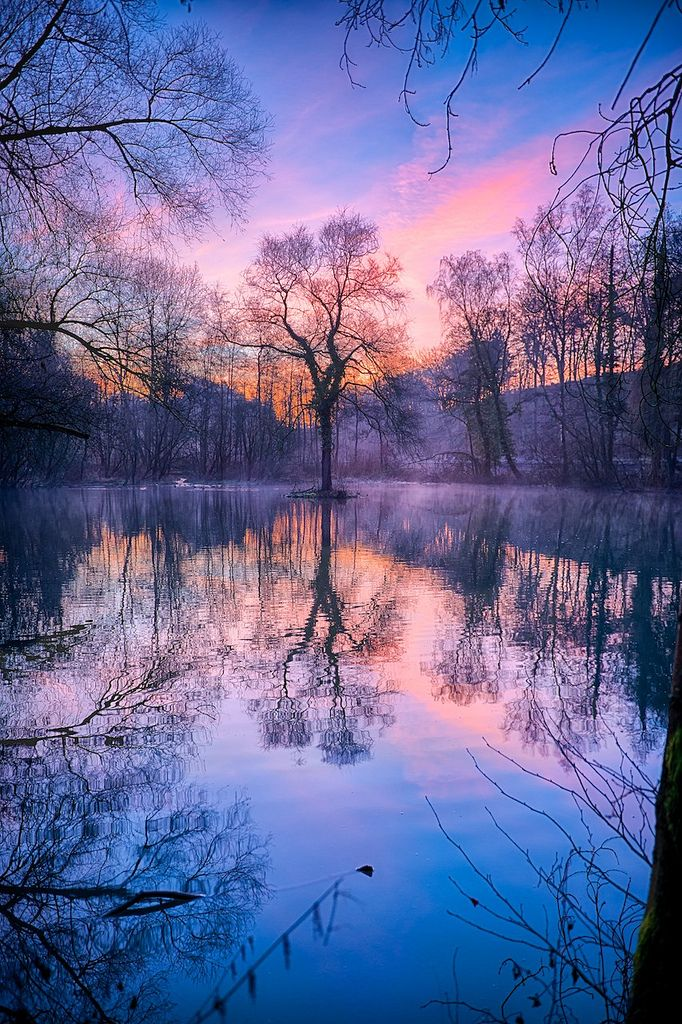 Winter Sunrise, Reflektionen, Sonnenaufgang, Germany, photo by  arnie2105