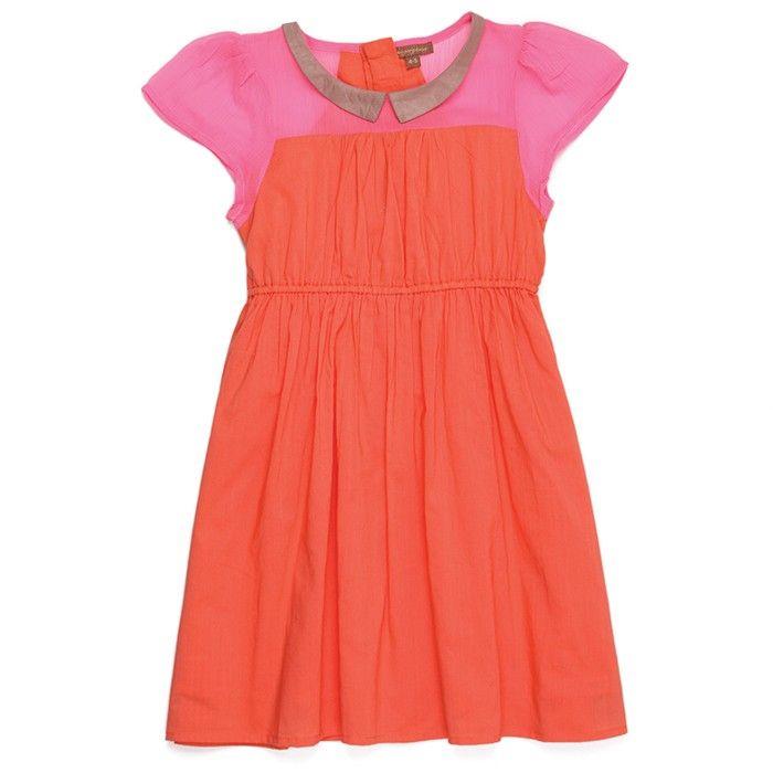 pink and orange collared dress