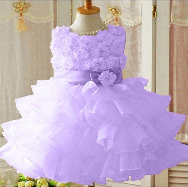 Vestido de festa camadas lilás infantil menina frete grátis