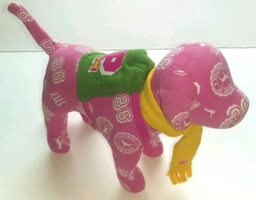 Victoria-Secret-Pink-Dog-Pup-with-Yellow-Scarf-and-Green-Backpack-EUC