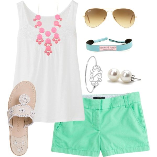 """""""Pastel Pink & Green"""" by thevirginiaprep on Polyvore"""
