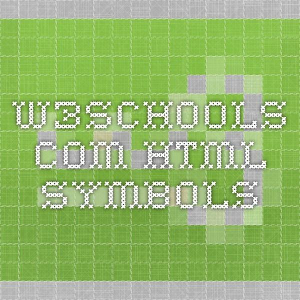 w3schools.com - HTML Symbols