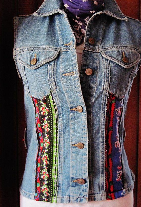Vintage 80s Jean Vest/Upcycled Denim by GroovieBooty on Etsy