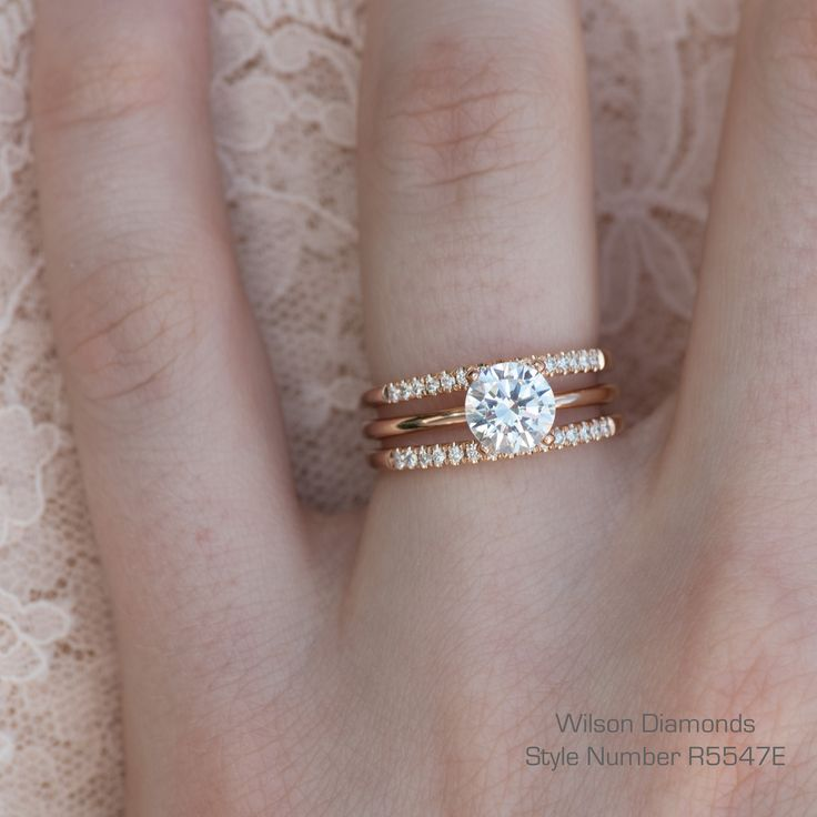 3 rings in 1! A solitaire with two matching pave wedding bands. Soldered together to make one ring into a wedding set! #rosegold #engagementring #wilsondiamonds #ring