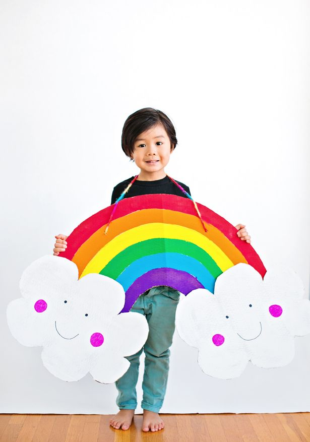 DIY Rainbow costume. Colorful and easy using cardboard! From hello, Wonderful