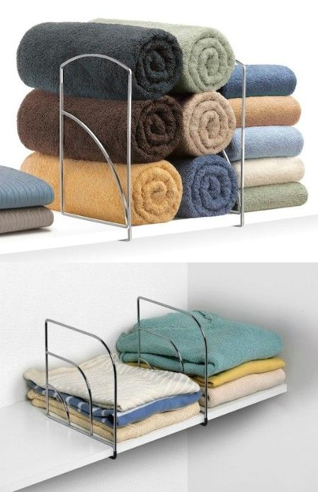 Shelf Divider: This shelf divider has a multitude of uses from storing blankets, sheets and towels in your linen closet, to organizing books, handbags and even clothing. The hooks at the bottom simply slide and lock over a shelf, so installation is super quick and easy.