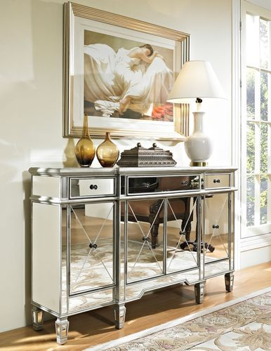 Powell Furniture Mirrored Foyer Console Cabinet Dresser Table Bedroom-