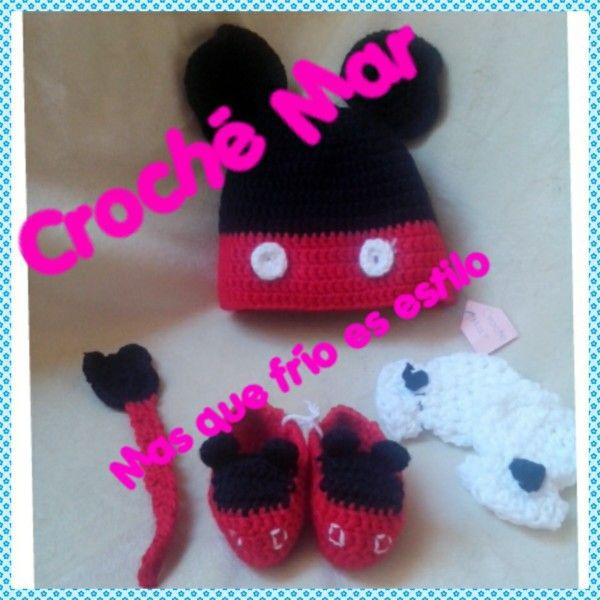 Conjunto tejido de Mickey (601)por Croche Mar. Gorro (101) zapatos(201) guantes(301) portachupon (401) pidelo por el codigo