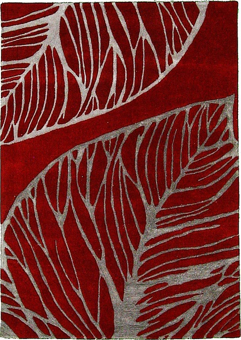 Red And Gray Leaf 5 3 X 7 7 Collectible Area Rug