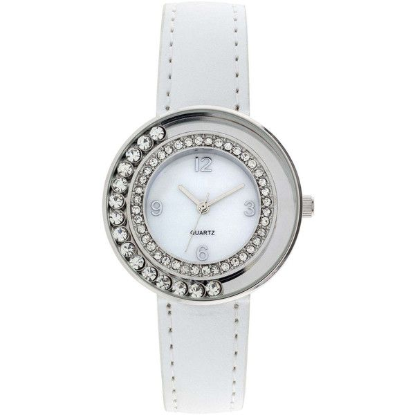 Womens Floating Stone See-Through Watch (365 ARS) ❤ liked on Polyvore featuring jewelry, watches, white, green watches, white watches, stone jewellery, green dial watches and stone jewelry