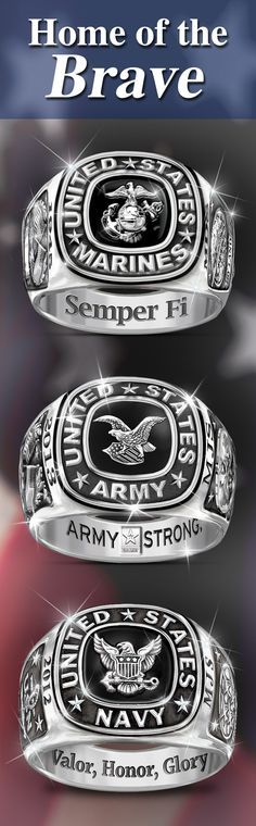 Make your pride known when you wear our bold military rings for men. If you're always letting your true colors show, why not complement your ensemble with a band that further demonstrates your loyalty. USMC, Army or Navy? We stand ready to help!