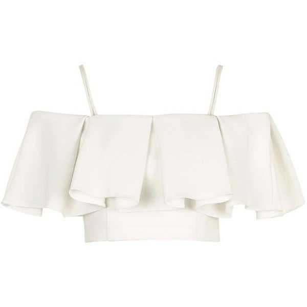 TopShop Cold Shoulder Bardot Blouse ($80) ❤ liked on Polyvore featuring tops, blouses, crop tops, flounce tops, white draped blouse, white ruffle top, white ruffle blouse and strappy crop top