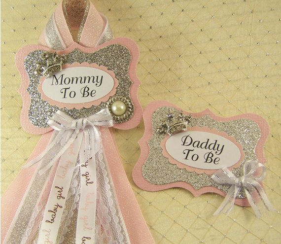Pink And Silver Princess Baby Shower Badge Mommy To Be Corsage And Daddy To  Be Measures
