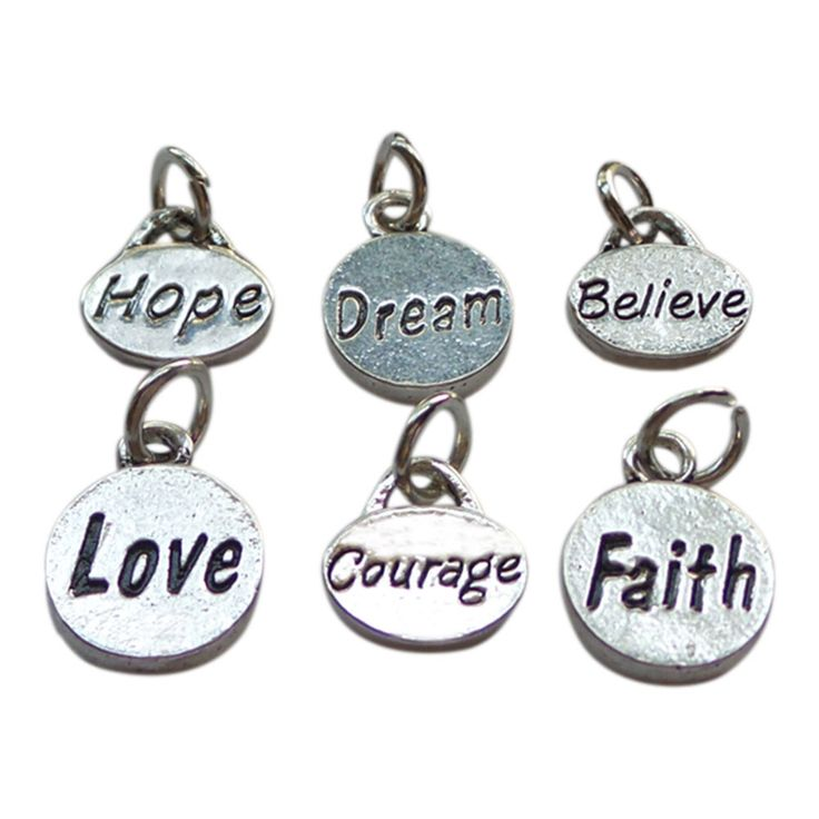 Hope Dream Believe and Courage Faith Love Set of Six Charms to Add to Expandable Bangle Bracelet
