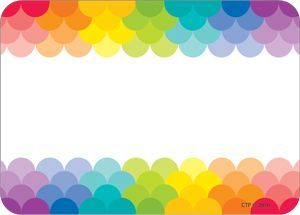 """These Rainbow Scallops labels are colorful and versatile to use at school, home and the office! They make great name tags for first day of school, field trips, open house, back-to-school night, parent vistations, class parties and more! These labels are also perfect for organizing all around the classroom and office. Use them for labeling storage bins, supply containers, book libraries, binders/folders and more."" ?…"