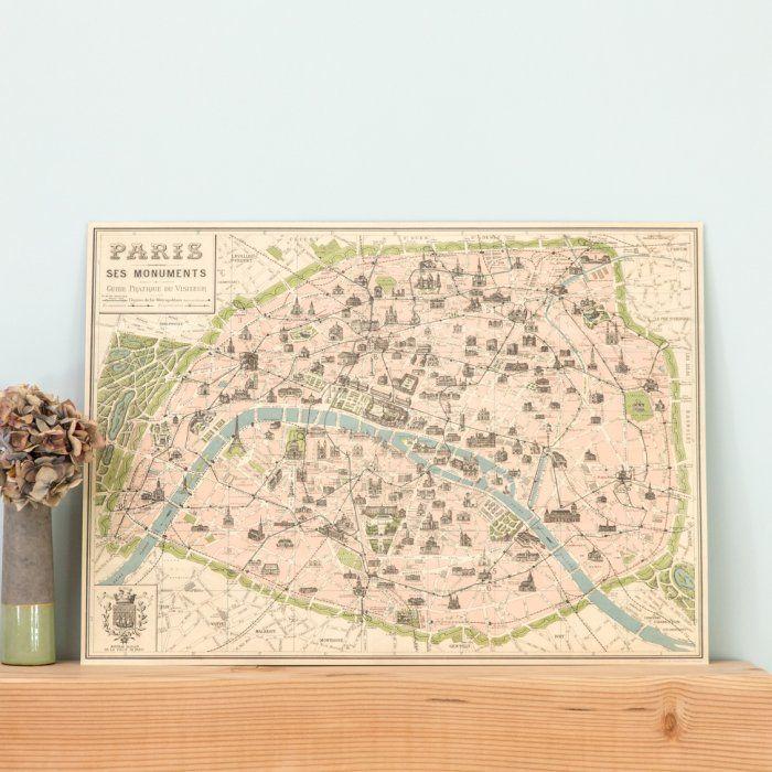 Affiche plan de Paris esprit vintage - Le Petit Florilège