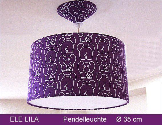 ...nichts mehr mit lila Kühen:-)   Hier kommt DER LILA ELEFANT: Die Pendelleuchte ELE LILA,  Ø35 cm, mit passendem Baldachin und Diffusor macht einfach Spass und das kräftige Lila ist ein toller Hingucker.