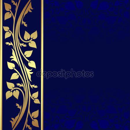 Скачать - Роскошный темно синий фон с золотой каймой — стоковая иллюстрация #38811057