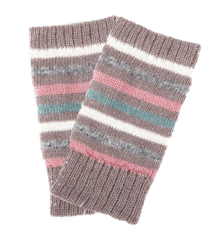 FINGERLESS STRIPE KNITTED GLOVES