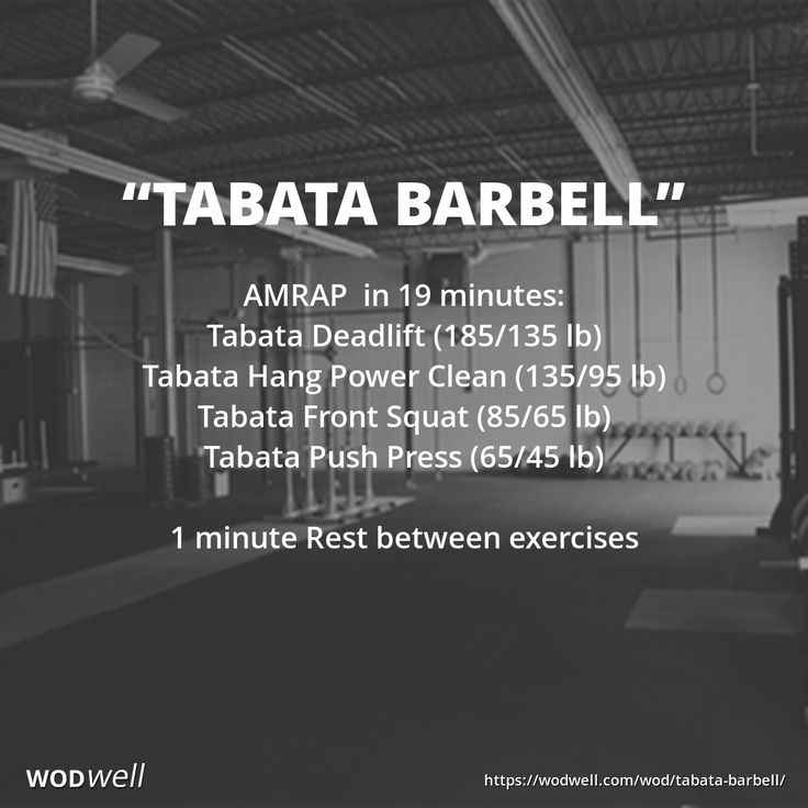 """TABATA BARBELL"" WOD AMRAP  in 19 minutes: Tabata Deadlift (185/135 lb); Tabata Hang Power Clean (135/95 lb); Tabata Front Squat (85/65 lb); Tabata Push Press (65/45 lb); 1 minute Rest between exercises"