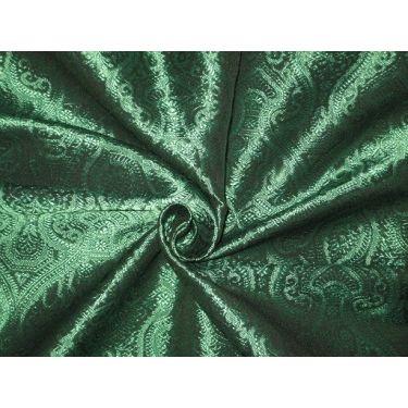 Spun Silk Brocade fabric Sea Green & Black Color