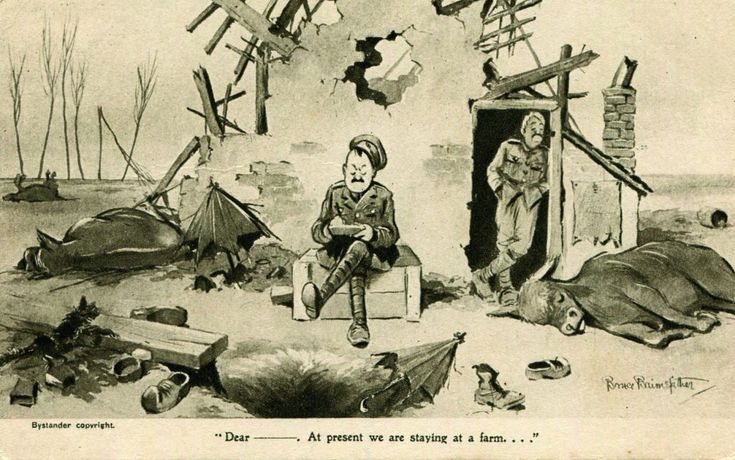 """""""At present we are staying on a farm…"""" A humorous postcard home by British soldier and artist Bruce Bairnsfather."""