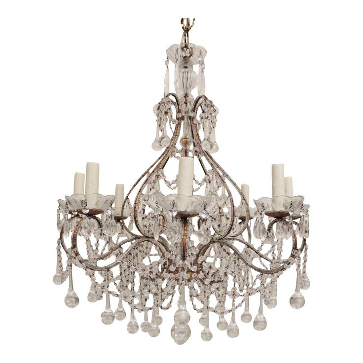 Beautiful Eight Light Gilt Iron Crystal Beaded Chandelier Composed Of New And Antique Elements In The Italian Style Newly Wired Working Co