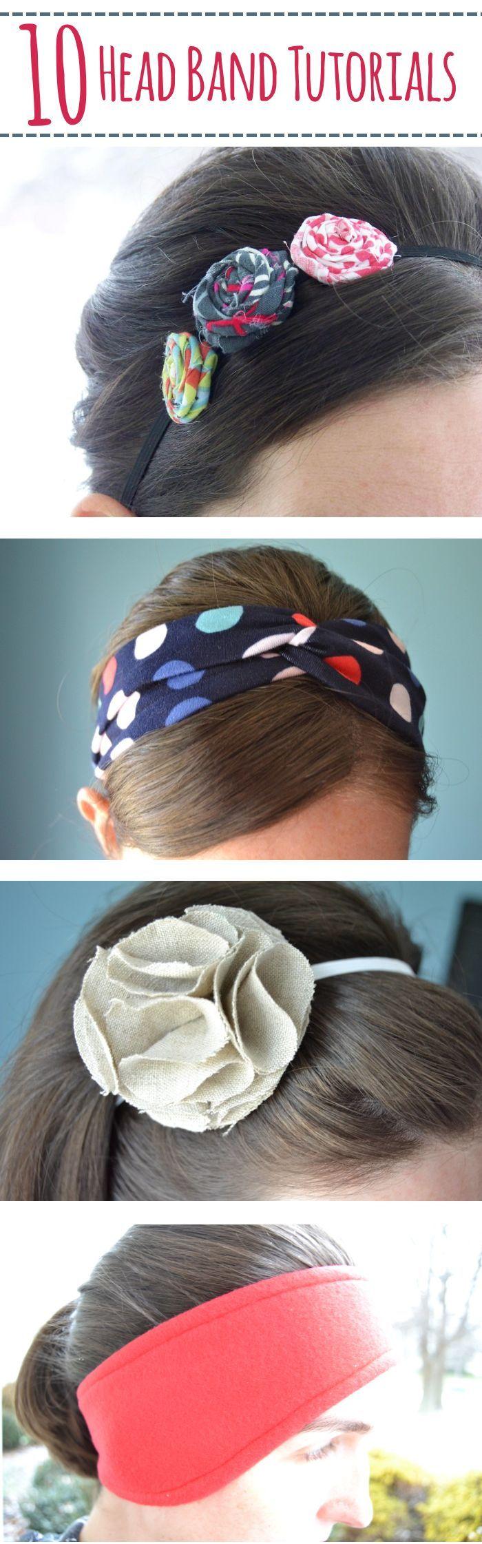 10 Headband Tutorials – Mary Martha Mama- 10 DIY head band tutorials- some no-sew, some sewing, knit, felt
