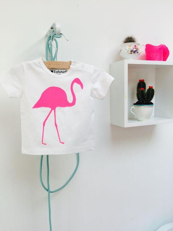 Baby t-shirt met grote roze flamingo