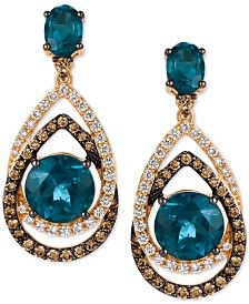 Le Vian Chocolatier® Deep Sea Blue Topaz (7-3/4 ct. t.w.), Chocolate Diamonds® and Vanilla Diamonds® (1-1/3 ct. t.w.) Interlocking Teardrop Drop Earrings in 14k Strawberry Gold®. Only at Macy's.