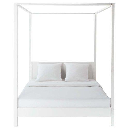 Maisons du Monde Letto a baldacchino 160 x 200 cm bianco sporco in legno