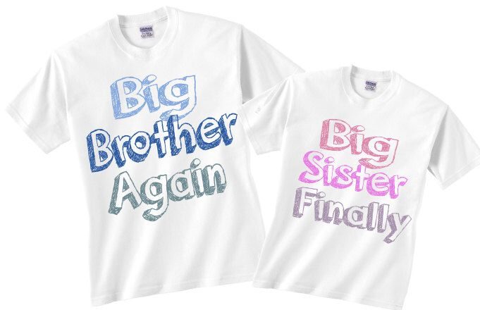 Big brother big sister set of two, big brother again and big sister finally shirts or bodysuit by LittleBooKidsShirts on Etsy https://www.etsy.com/listing/209572192/big-brother-big-sister-set-of-two-big