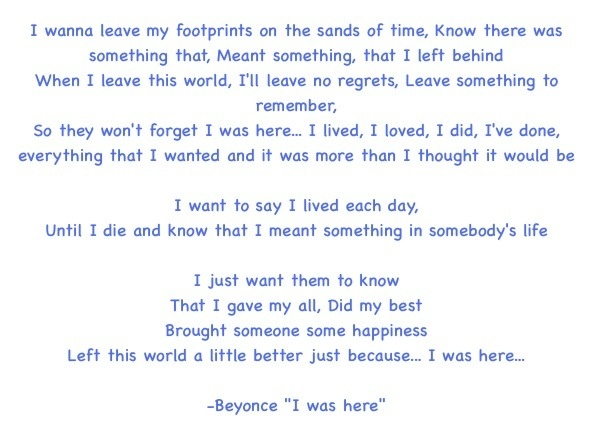 Beyoncé – I Was Here Lyrics | Genius Lyrics