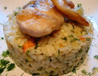 Shrimp Risotto with Halibut Cheeks - substitute caviar as the topping for a special meal