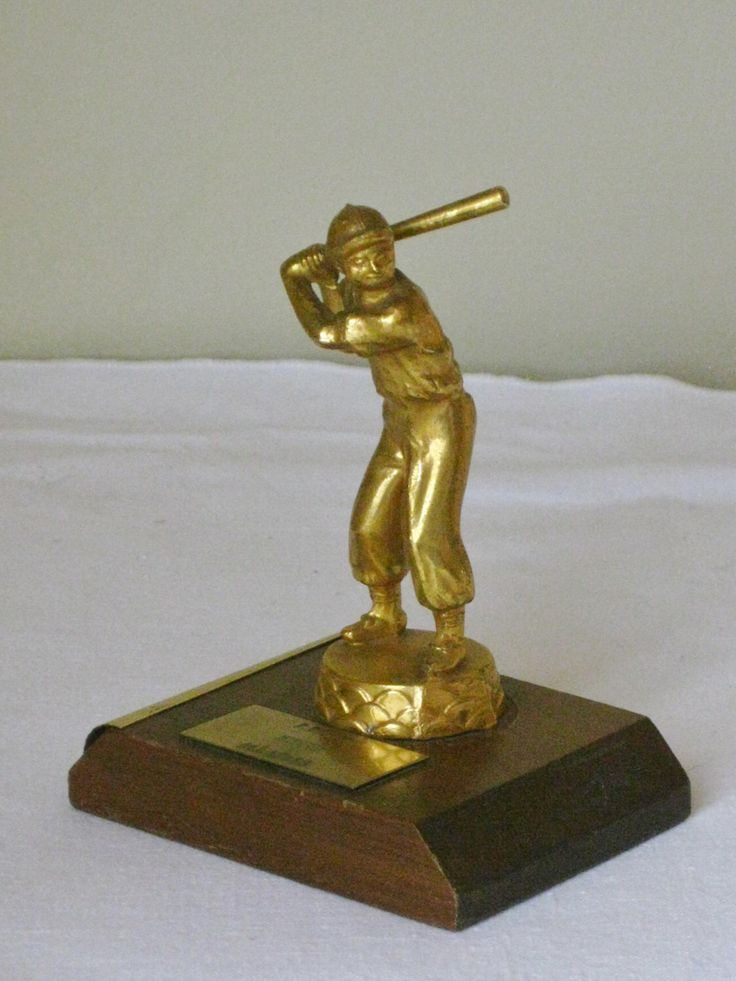 Vintage 1950s Baseball Trophy, Small Gold Metal Man on Wood Base Sports Award, Mid Century All Stars Trophy, Baseball Figure Figurine by maggiemaevintage on Etsy https://www.etsy.com/listing/226630085/vintage-1950s-baseball-trophy-small-gold