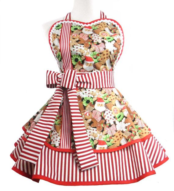 Christmas apron, Christmas Cookie Glitter apron, full circle, playful apron, full of flounce, lots of sparkle and ready to ship!!  All Orders Ship USPS Priority 2 - 3 day Mail.  *Double layer skirt. *All edges are finished trimmed in bias. There are no raw edges. *Sweetheart bib is lined with contrasting fabric. *Extra long ties, to wrap and tie in front if you like! * Skirt measures 15 in length - waist is 32 inches and up to fit most sizes.   NOTE: The petticoat is not included so be sure…