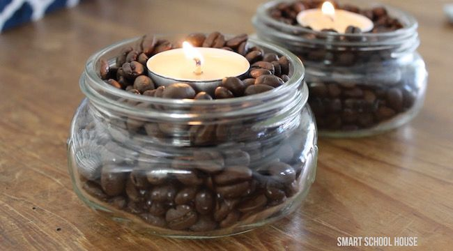 The tea light will warm up the coffee beans leaving a wonderfully warm vanilla