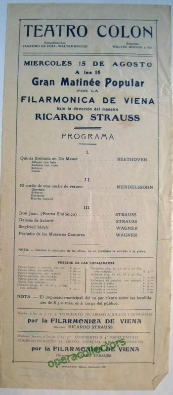 Strauss, Richard conducting Vienna Philharmonic - Teatro Colon 1923.